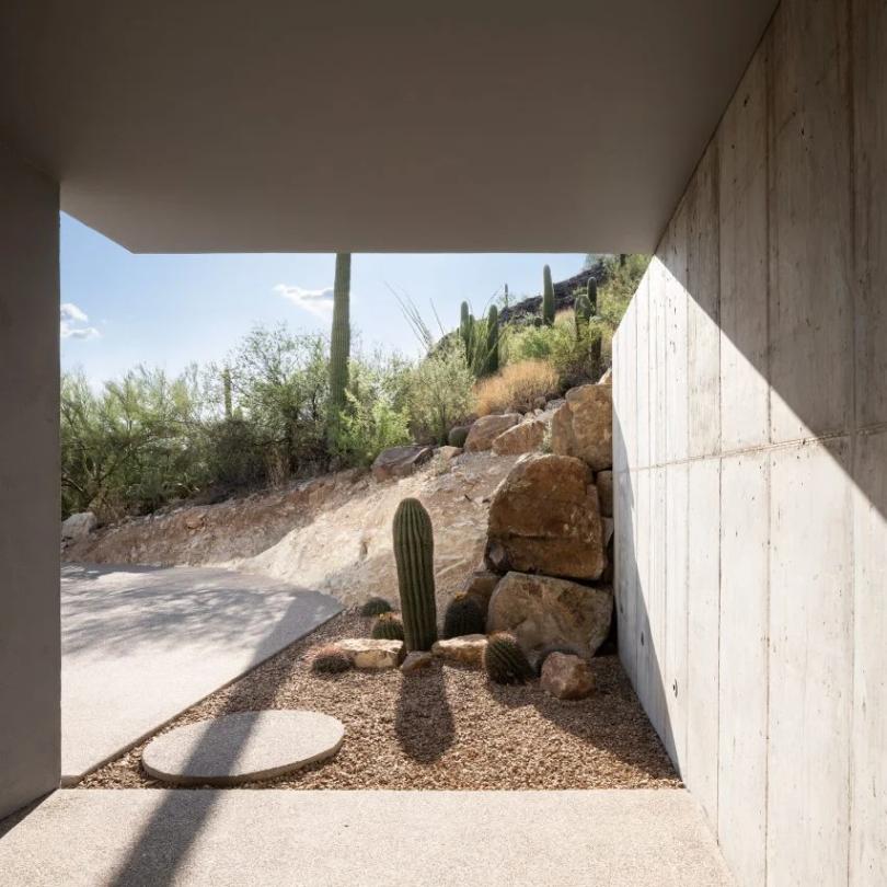 Concrete home by HK Associates looks onto the Arizona desert